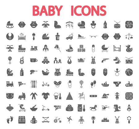 Baby icons set. Flat vector related icon set for web and mobile applications.