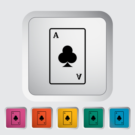 double the chances: Play card. Single flat icon on the button. Vector illustration.