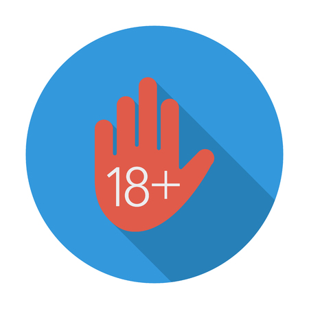 pornography: Age restriction. Flat vector icon for mobile and web applications. Vector illustration.