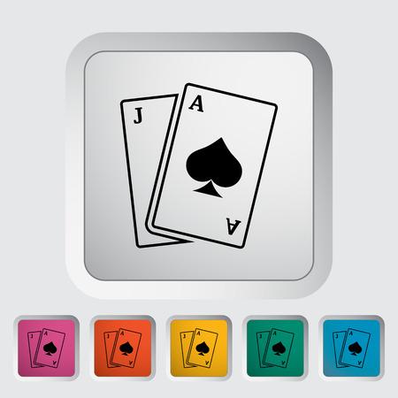 blackjack: Blackjack. Single flat icon on the button. Vector illustration. Illustration