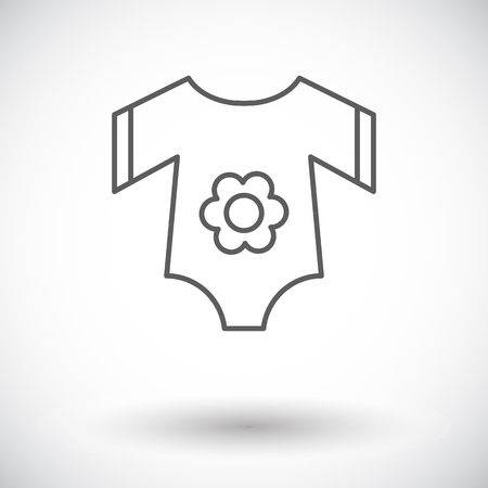 bodysuit: Baby clothes icon. Thin line flat vector related icon for web and mobile applications. It can be used as - logo, pictogram, icon, infographic element. Vector Illustration.