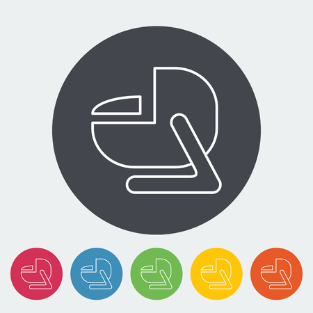 car security: Child car seat icon. Thin line flat vector related icon for web and mobile applications. It can be used as - logo, pictogram, icon, infographic element. Vector Illustration. Illustration