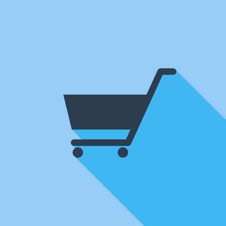 business symbol: Cart icon. Flat vector related icon with long shadow for web and mobile applications. It can be used as - pictogram, icon, infographic element. Vector Illustration.