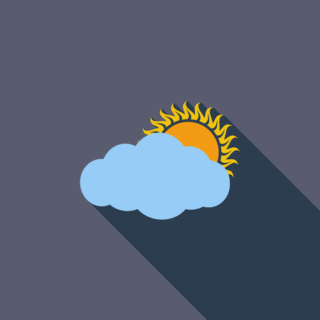 nebulosidade: Cloudiness single icon. Flat vector related icon with long shadow for web and mobile applications.