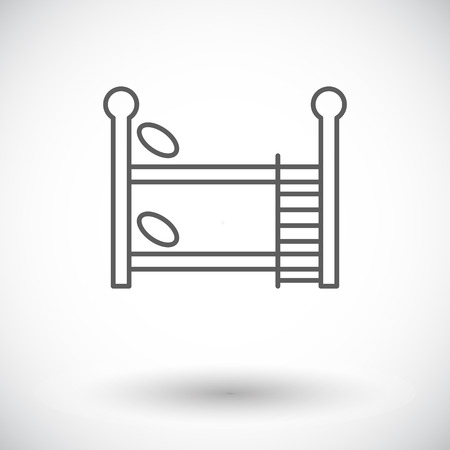 letto a castello: Bunk bed icon. Thin line flat vector related icon for web and mobile applications.