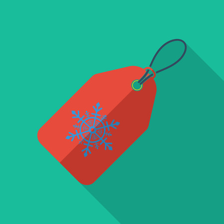 vouchers: Christmas tag icon. Flat vector related icon with long shadow for web and mobile applications.
