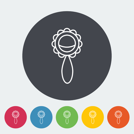 picutre: Rattle icon. Thin line flat vector related icon for web and mobile applications Illustration