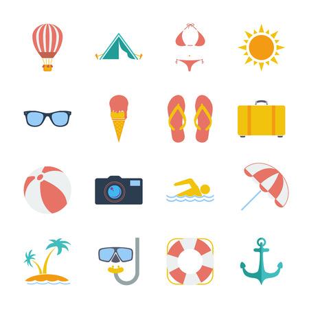 reise retro: Sommer-Icons gesetzt. Flache Vektor im Zusammenhang Icon-Set für Web und mobile Anwendungen.