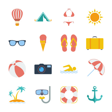flipflop: Summer icons set. Flat vector related icon set for web and mobile applications. Illustration