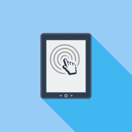 pc icon: Tablet PC icon. Flat vector related icon with long shadow for web and mobile applications.