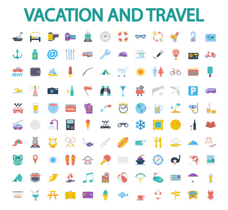 Vacation and travel icons set. Flat vector related icon set for web and mobile applications. It can be used as - logo, pictogram, icon, infographic element. Vector Illustration.