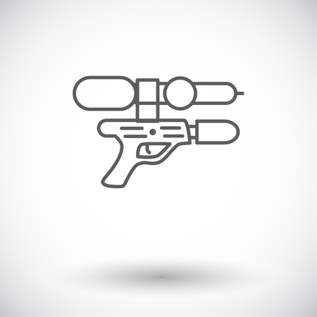 squirt: Gun toy icon. Thin line flat vector related icon for web and mobile applications.