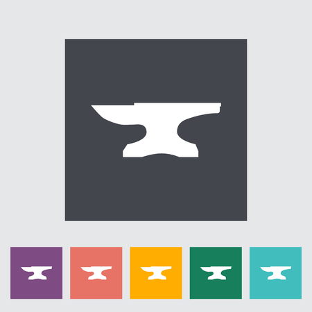 anvil: Anvil. Single flat icon on the button. Vector illustration. Illustration