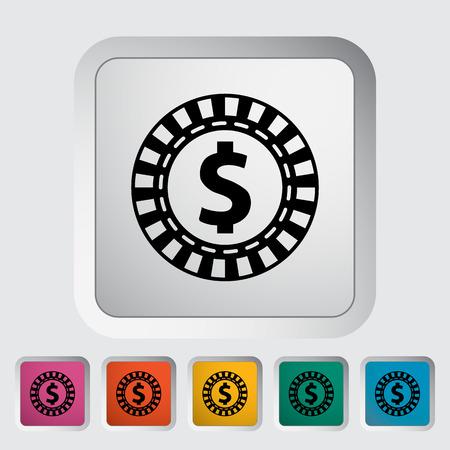 las vegas metropolitan area: Gambling chips. Single flat icon on the button. Vector illustration.