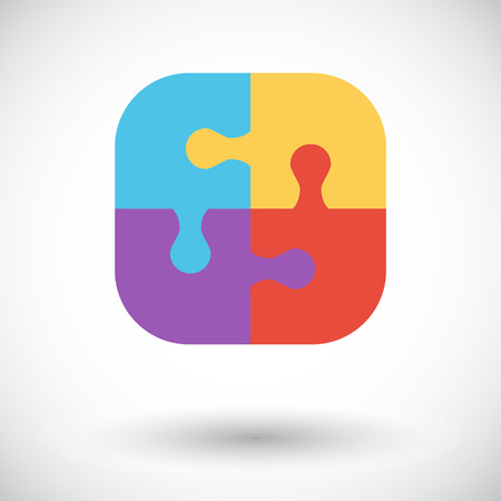 medium group of people: Puzzle icon. Illustration