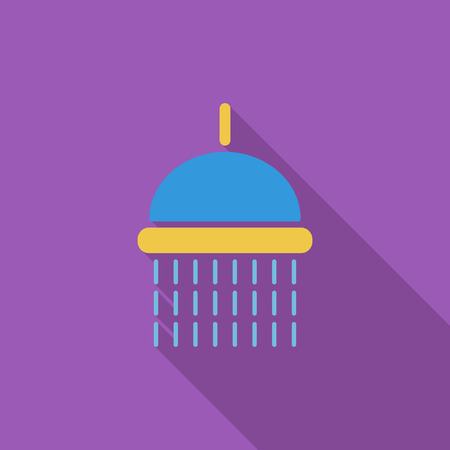 rinse: Shower icon. Flat vector related icon with long shadow for web and mobile applications. It can be used as - logo, pictogram, icon, infographic element. Vector Illustration.
