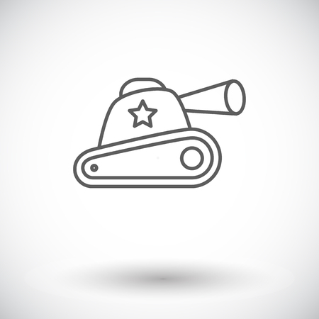 trooper: Tank toy icon. Thin line flat vector related icon for web and mobile applications. It can be used as - logo, pictogram, icon, infographic element. Vector Illustration. Vectores