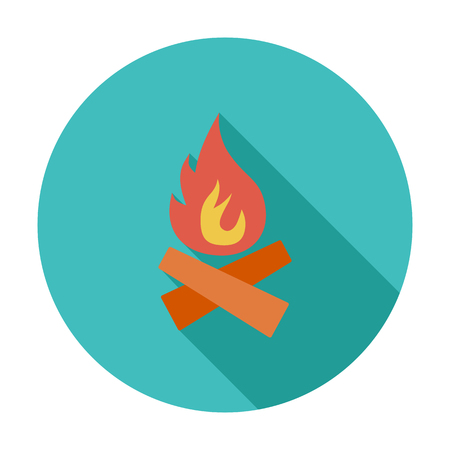 camp: Bonfire. Flat vector icon for mobile and web applications. Vector illustration.