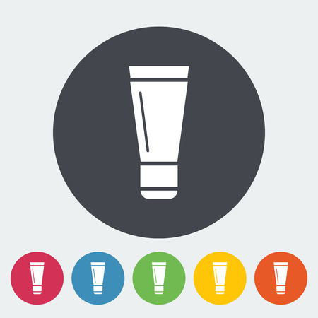 packaging equipment: Tube. Single flat icon on the button. Vector illustration.