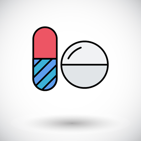 contraceptive: Contraceptive pills. Flat icon on the white background for web and mobile applications. Vector illustration. Illustration