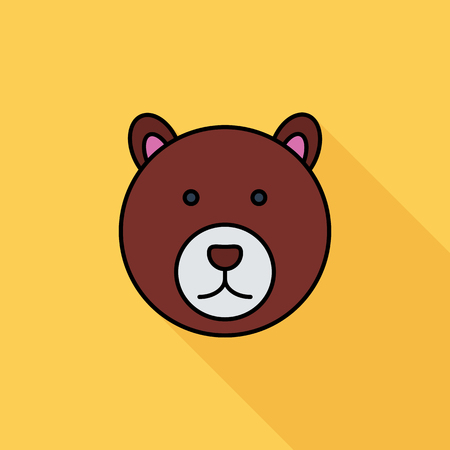 petting zoo: Bear icon. Flat vector related icon with long shadow for web and mobile applications. It can be used as - logo, pictogram, icon, infographic element. Vector Illustration. Illustration