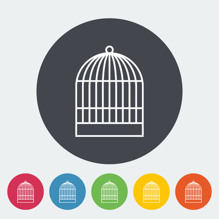 jail bird: Cage icon. Thin line flat vector related icon for web and mobile applications. It can be used as - logo, pictogram, icon, infographic element. Vector Illustration.
