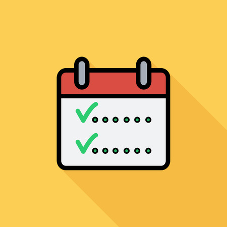 chek: Calendar with chek icon. Flat vector related icon with long shadow for web and mobile applications. It can be used as - logo, pictogram, icon, infographic element. Vector Illustration.