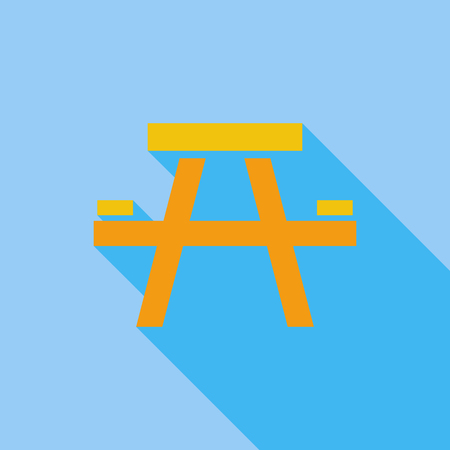soiree: Camping table icon. Flat vector related icon with long shadow for web and mobile applications. It can be used as - logo, pictogram, icon, infographic element. Vector Illustration.