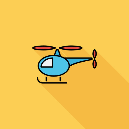 flight mode: Helicopter icon. Flat vector related icon with long shadow for web and mobile applications. It can be used as - logo, pictogram, icon, infographic element. Vector Illustration. Illustration