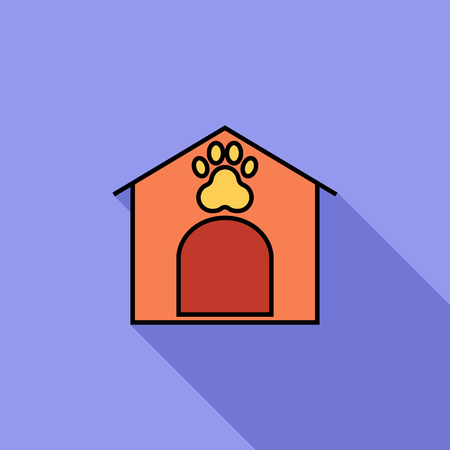 kennel: Kennel icon. Flat vector related icon with long shadow for web and mobile applications. It can be used as - logo, pictogram, icon, infographic element. Vector Illustration.