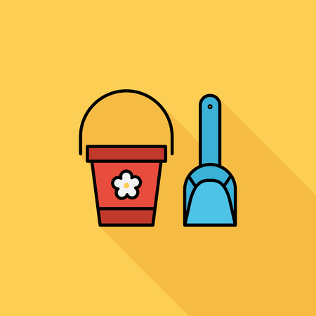 pail: Pail and shovel icon. Flat related icon with long shadow for web and mobile applications.