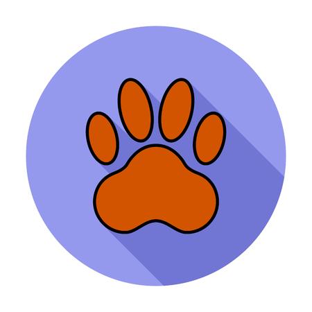 huellas de perro: icono de la pata. icono relacionado plana con larga sombra para web y aplicaciones m�viles.
