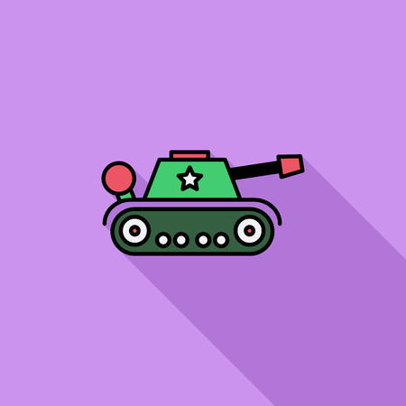 trooper: Tank toy icon. Flat vector related icon with long shadow for web and mobile applications. It can be used as - logo, pictogram, icon, infographic element. Vector Illustration. Illustration