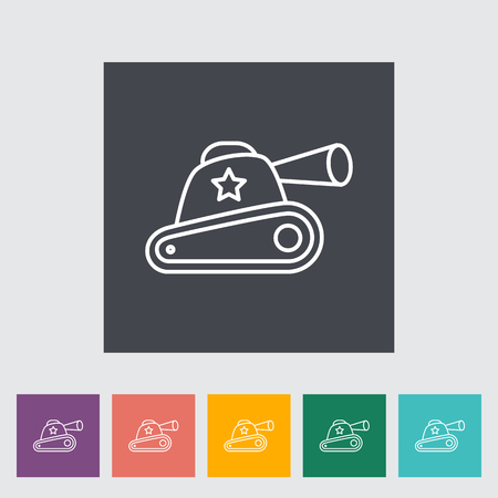 turret: Tank toy thin line flat vector related icon set for web and mobile applications. It can be used as - logo, pictogram, icon, infographic element. Vector Illustration. Illustration