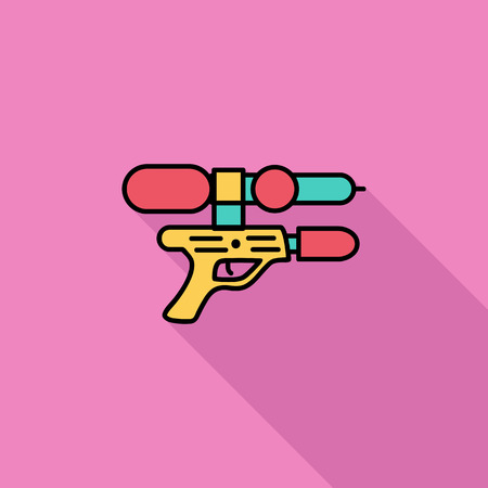 squirt: Gun toy icon. Flat vector related icon with long shadow for web and mobile applications. It can be used as - logo, pictogram, icon, infographic element. Vector Illustration. Stock Photo
