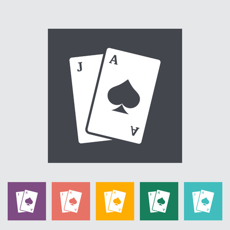 wagers: Blackjack. Single flat icon on the button. Vector illustration. Illustration