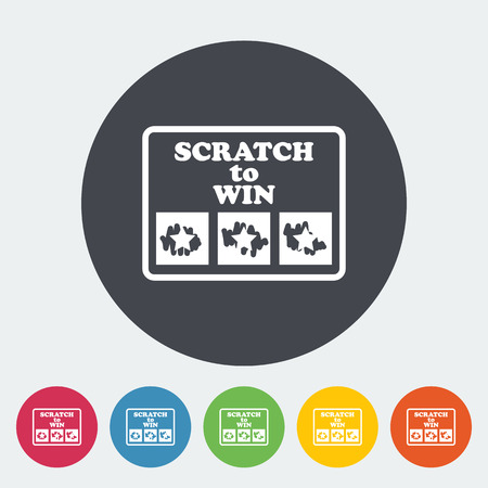 scratch card: Scratch card. Single flat icon on the circle button. Vector illustration.
