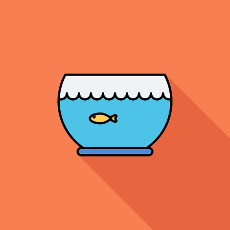 simple fish: Aquarium icon. Flat vector related icon with long shadow for web and mobile applications. It can be used as - logo, pictogram, icon, infographic element. Vector Illustration.