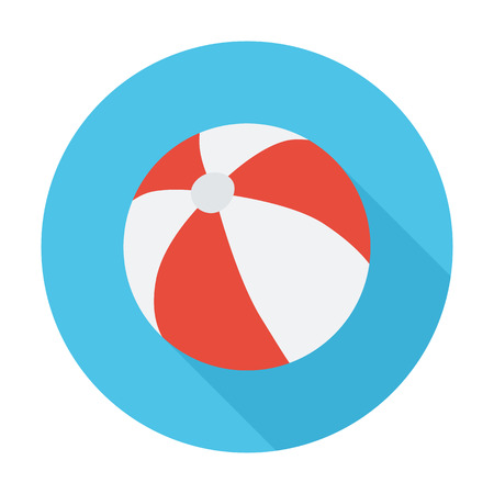 beachball: Beach ball icon. Flat vector related icon with long shadow for web and mobile applications. It can be used as - logo, pictogram, icon, infographic element. Vector Illustration.