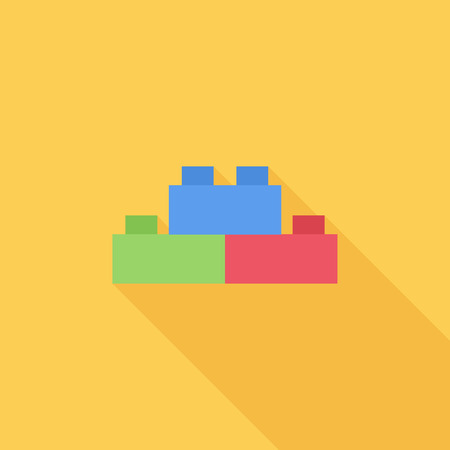 building activity: Building block icon. Flat vector related icon with long shadow for web and mobile applications. It can be used as - logo, pictogram, icon, infographic element. Vector Illustration. Illustration