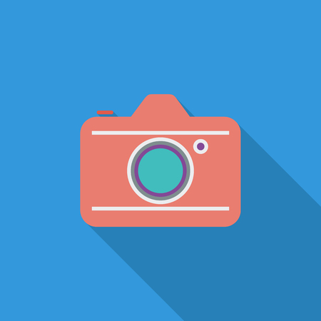 reflex: Camera icon. Flat vector related icon with long shadow for web and mobile applications. It can be used as - logo, pictogram, icon, infographic element. Vector Illustration.