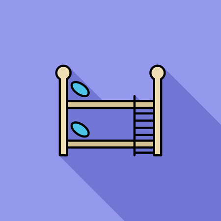 letto a castello: Bunk bed icon. Flat vector related icon with long shadow for web and mobile applications. It can be used as - logo, pictogram, icon, infographic element. Vector Illustration. Vettoriali