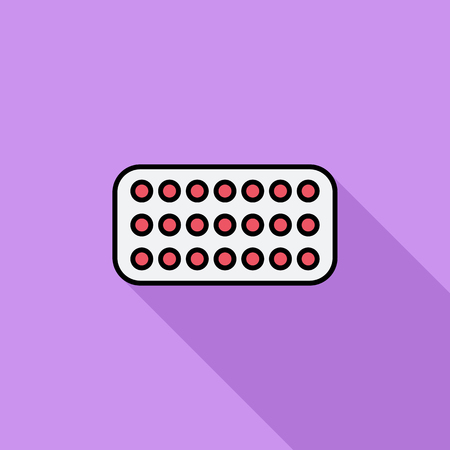 a tablet blister: Contraceptive pills icon. Flat vector related icon with long shadow for web and mobile applications. It can be used as - logo, pictogram, icon, infographic element. Vector Illustration.