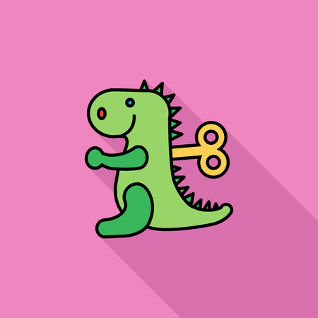 animated alien: Dinosaurus toy icon. Flat vector related icon with long shadow for web and mobile applications. It can be used as - logo, pictogram, icon, infographic element. Vector Illustration. Illustration