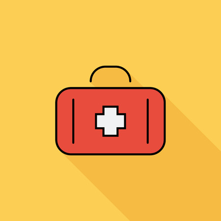 first aid sign: First aid icon. Flat vector related icon with long shadow for web and mobile applications. It can be used as - logo, pictogram, icon, infographic element. Vector Illustration.