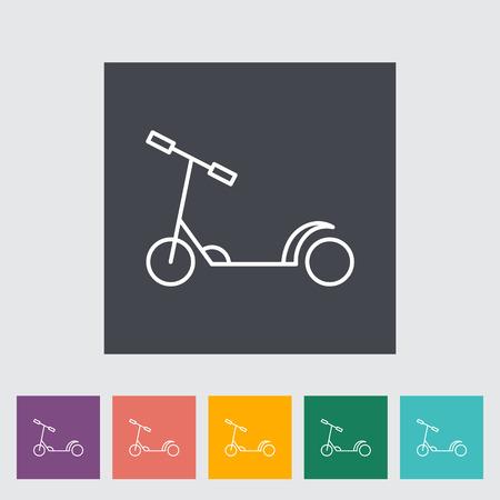 niño empujando: icono de vectores plana scooter de niño delgada línea relacionada establecido para web y aplicaciones móviles. Se puede utilizar como - logotipo, pictograma, icono, elemento de infografía. Ilustración del vector.