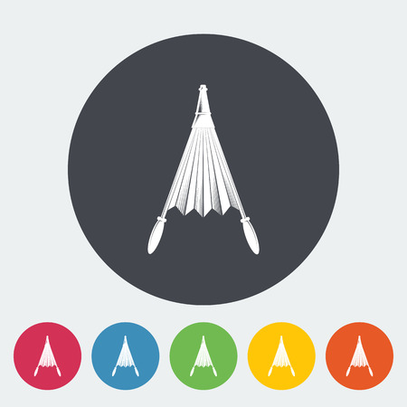 fireplace bellows: Belows. Single flat icon on the circle button. Vector illustration.