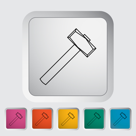 hobnail: Hammer. Single flat icon on the button. Vector illustration.