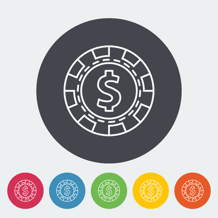 recreational pursuit: Gambling chips. Single flat icon on the circle button. Vector illustration. Illustration