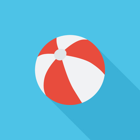 beachball: Beach ball icon. Flat vector related icon with long shadow for web and mobile applications. It can be used as - pictogram, icon, infographic element. Vector Illustration. Illustration